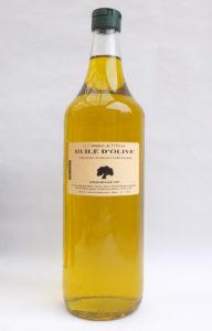 Photo d'une bouteille de d'1l d'huile d'olive (Cayannes de Gémenos) extra vierge bio de Provence, par François-Xavier, Producteur oléiculteur et créateur de la marque Le Comptoir de l'Olivier, huile d'olive de Provence et savons vegan à l'huile d'olive.