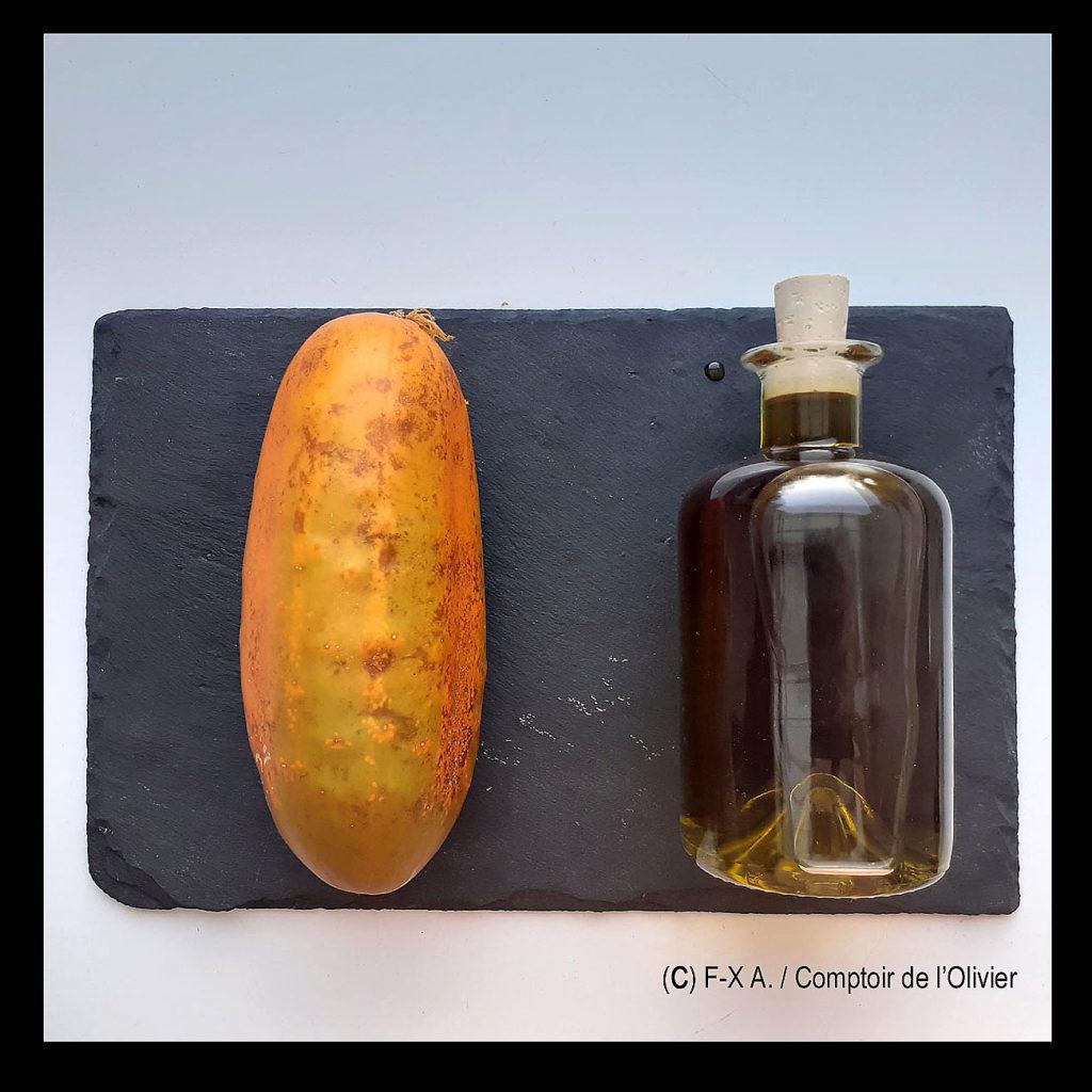 Concombre du jardin et Huile d'Olive bio de Provence du Comptoir de l'Olivier.